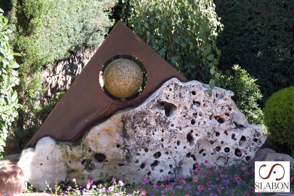 Fuente acero cortén Madrid para terraza o jardin